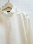 画像2: KIIT(キート)C/SI GROSGRAIN HI NECK P/O SHIRTS KID-B93-005(WHT) (2)
