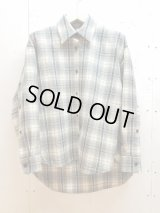 KIIT(キート)-UNISEX LINE-PURE WOOL CHECK OVER SHIRT KIH-B95W-101(GRY)